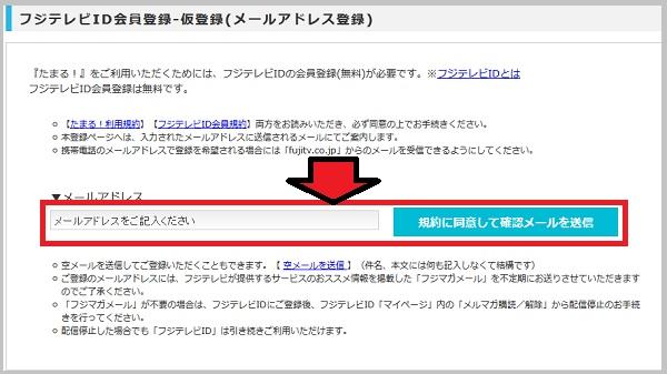 仮登録(メールアドレス登録)