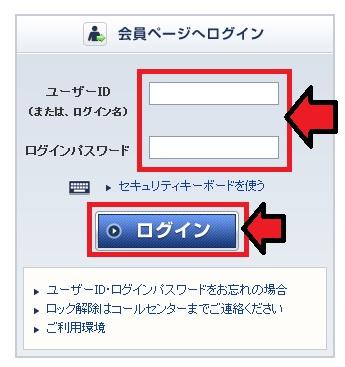 ログインIDとパスワード入力