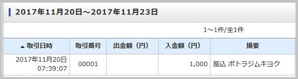 ジャパンネット銀行へ振り込み完了