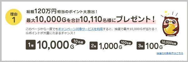 最大10,000Gを合計10,110名様にプレゼント