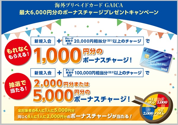 海外プリペイドカードGAICAキャンペーン