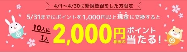 2,000円相当が当たる
