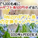 【モッピー】抽選で1,000名にAmazonギフト券500円分が当たる!「Amazonギフト券春の交換キャンペーン」