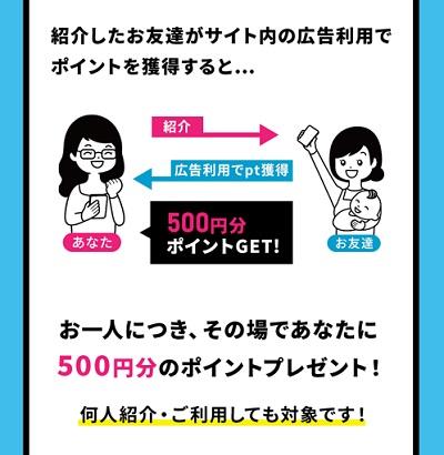 お友達を紹介して500円