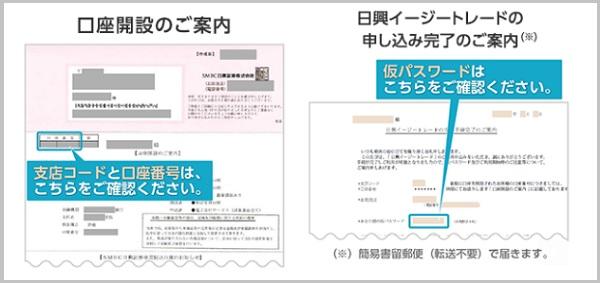支店コードと口座番号仮パスワード