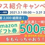 「ハピタス紹介キャンペーン」Amazonギフト券500円分と400円相当のポイントが貰える!先着2,000組!